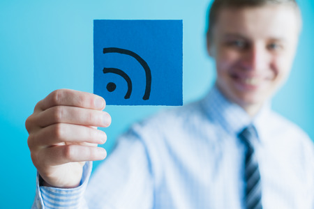 wi fi icon: Internet technology and networking concept, Businessman hand with wifi