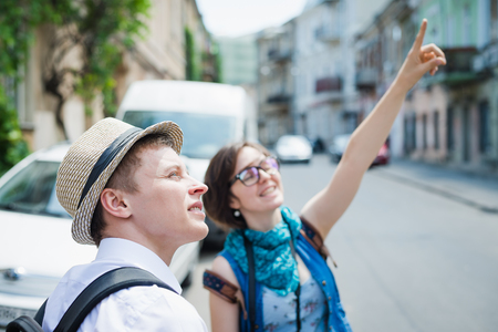 Two Young Tourist Sightseeing City