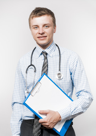 medical notes: businessman and stethoscope