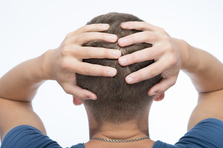 occiput: back view of the young man head Stock Photo