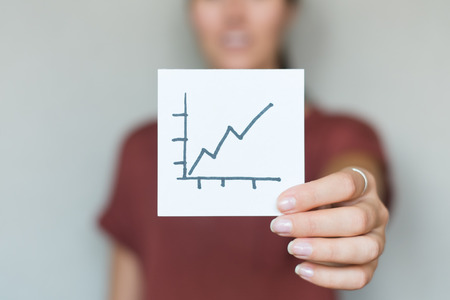 profile measurement: drawing image scale up progress in the hand Stock Photo