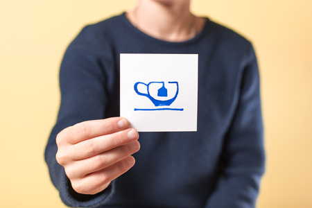 go sign: photo image of tea in hand Stock Photo