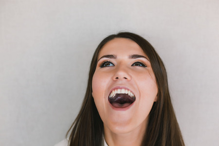 woman shouting: woman screaming because of winning excitement Stock Photo
