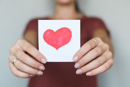 drawing image heart in hand Stock Photo
