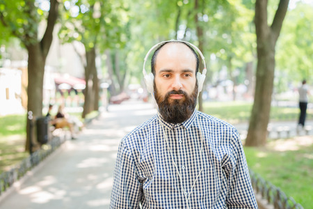 cool guy: man with headphones Stock Photo