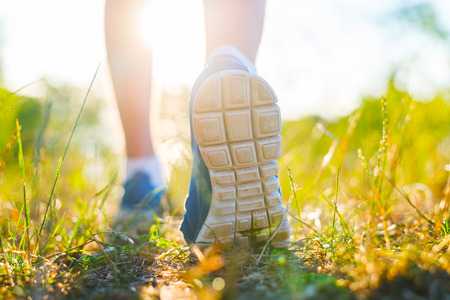 Runner feet running  closeup on shoe