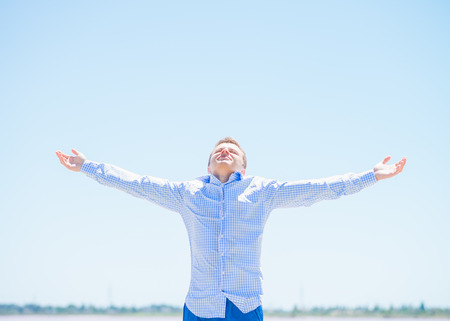 young man on sea shirt Stock Photo