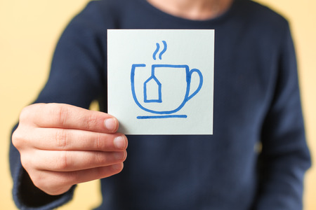 coffee hour: drawing image in hand tea