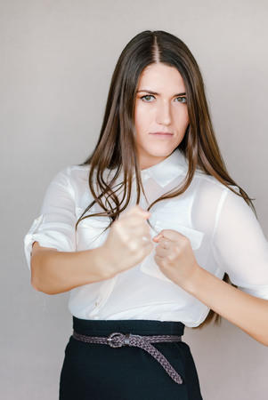 stance: Young beautiful woman with strong character