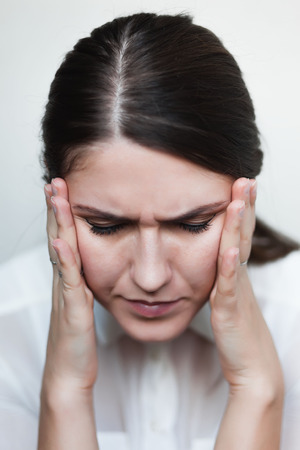 young sad girl headache Reklamní fotografie