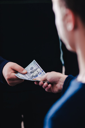 creditor: Transfer of money from hand to hand Stock Photo