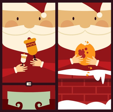 white bacjground: Santa Claus rings the bell and eats cookies illustration