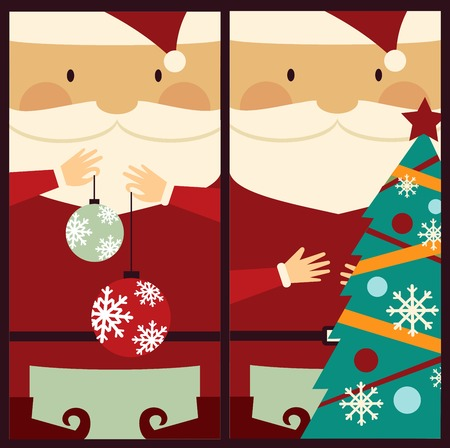 Santa Claus with Christmas tree illustration Vector