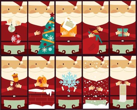 weihnachtsmann lustig: Set von Bildern mit Santa Claus Abbildung Illustration