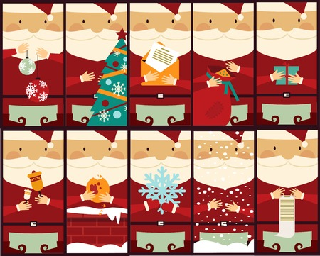 set of pictures with Santa Claus illustration Illustration