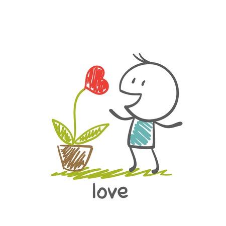 children s art: people love to grow plants with heart illustration Illustration