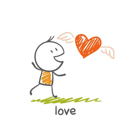 children s: man running in love with hearts illustration