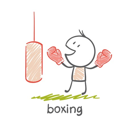 persons engaged in boxing illustration