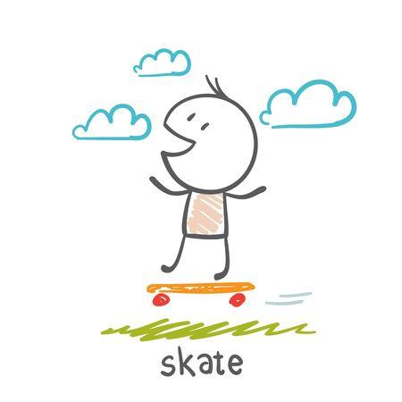 filming: man rides a skateboard illustration