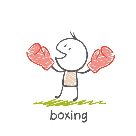 engaged: persons engaged in boxing illustration