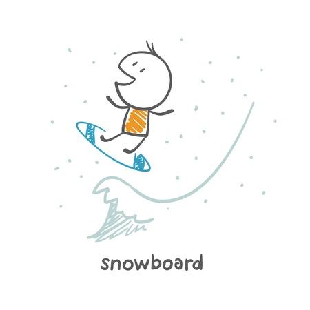 snowboarding: man snowboarding illustration