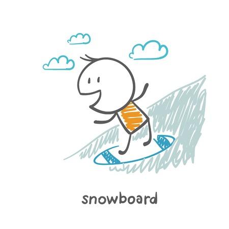 man snowboarding illustration