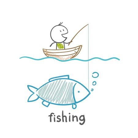 in amazement: man fishing illustration