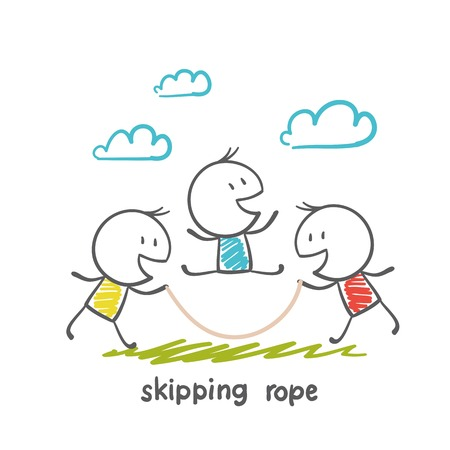 man jumping rope illustration