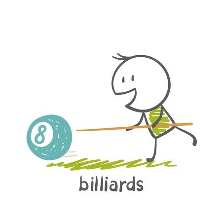billard: man plays billiards illustration
