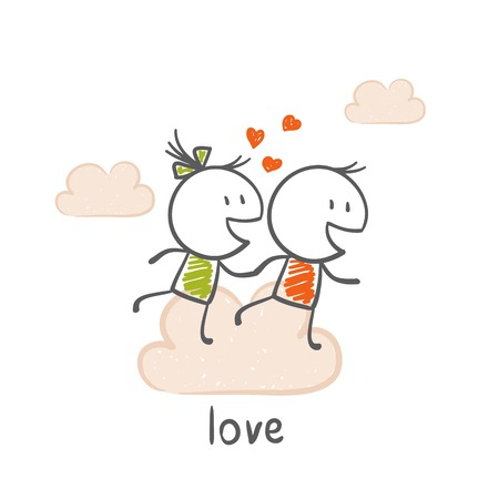 girl in love: boy and girl love and run through the clouds illustration