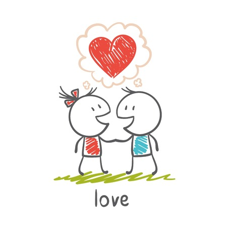 boy and girl think about love illustration