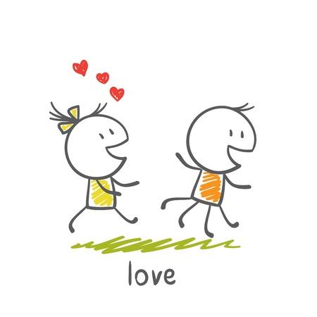 him: boy running from a girl who loves him illustration Illustration