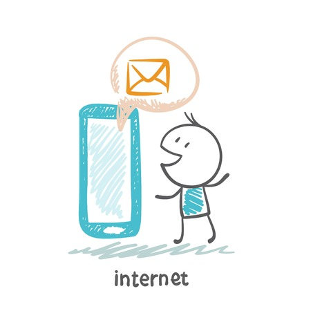 communicates: person communicates with people through the Internet from a mobile phone illustration
