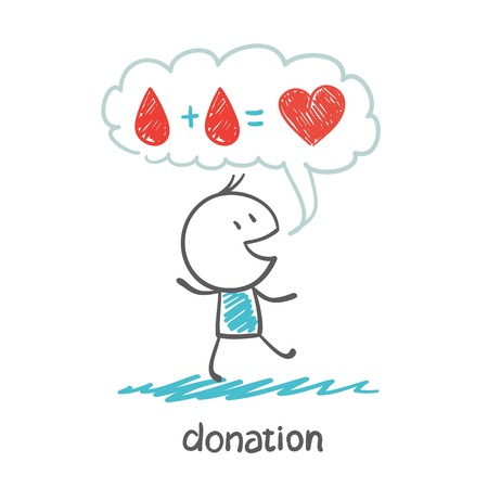 blood donation: a person thinks about blood donation illustration Illustration