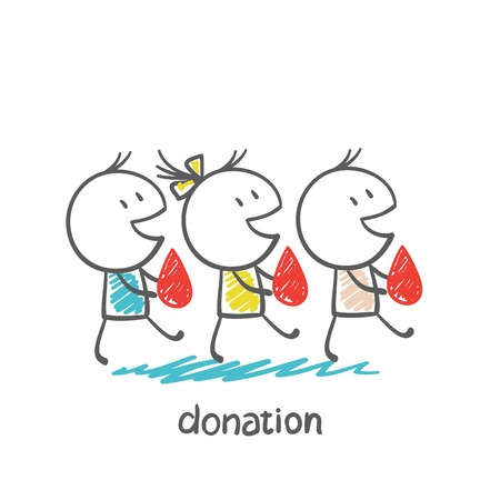 blood donation: go to donate blood donors illustration Illustration