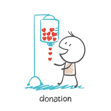 receives: a person receives blood drip illustration