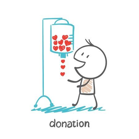 een persoon ontvangt bloed druppelen illustratie Stock Illustratie