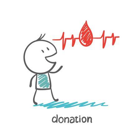 talks: man talks about donation illustration