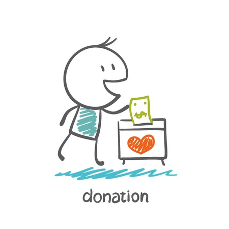 donate: man throws money in a box with hearts illustration Illustration