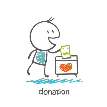 Mann wirft Geld in einer Box mit Herzen Illustration