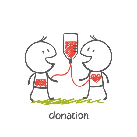 donate: persons engaged in the donation illustration
