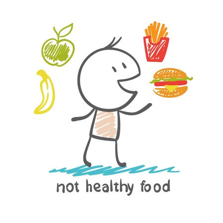 comer sano: la gente come alimentos saludables no es una ilustraci�n Vectores