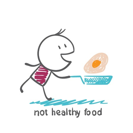 messy kitchen: people eat healthy food is not an illustration Illustration
