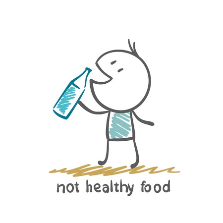 people eat healthy food is not an illustration Stock Illustratie