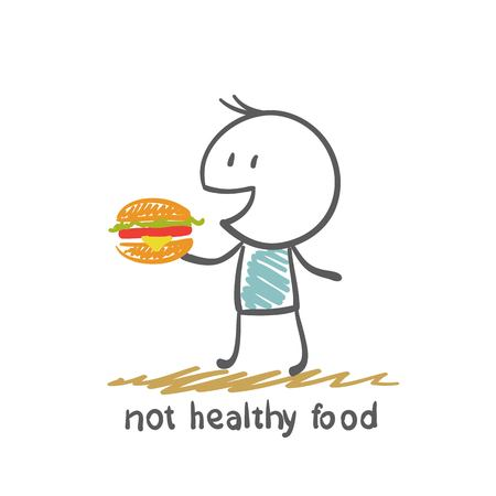 people eat healthy food is not an illustration Иллюстрация