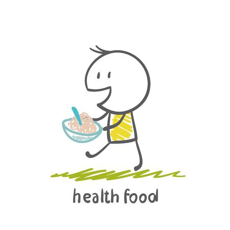 food: people eating healthy food illustration