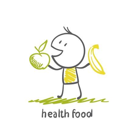 people eating healthy food illustration