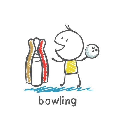 vintage: man spelen bowling illustratie Stock Illustratie
