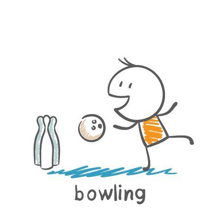 man playing bowling illustration