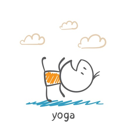 mind body soul: people doing yoga illustration Illustration